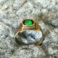 MEDIEVAL BRONZE RING WITH GREEN STONE ON BEZEL