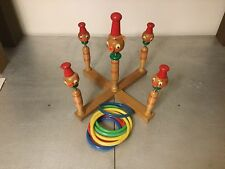 Vintage Wooden Ring Toss Game with Eight Rings