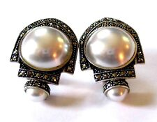 Massive Marcasite Mabe' Pearl Earrings Sterling-Silver Deco Style 'Mint Vintage'