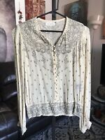 ISABEL MARANT Cream Gold Floral Silk Blouse Shirt Top Sz S