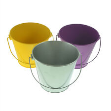 Pack of 3 Metal Beach Buckets Purple/Silver/Yellow - XNX012-013-014
