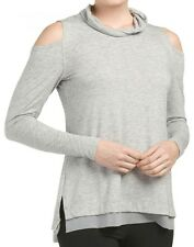 NWT $68.00 Nanette Lepore Women's Cold-Shoulder Pullover Top Heather Grey Small