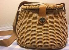 Early Antique Center Hole Wicker Fishing Creel Family Heirloom