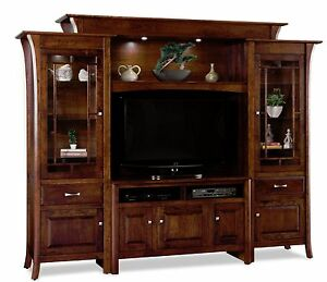 Amish Large TV Entertainment Center Ensenada Solid Wood Media Wall Unit