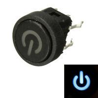 10Pcs Blue LED Power Symbol Momentary Latching Switch LED Light Push Button SPST