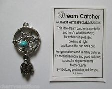 q DREAM CATCHER Charm feather ganz harmony good luck mother earth turqouise bead