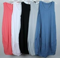 NEW LADIES LAGENLOOK QUIRKY BOHO  SLEEVELESS COCOON TUNIC DRESS