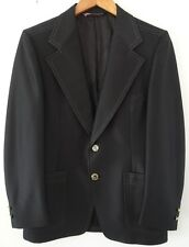 Vtg 60s 70s Mens Phoenix Black Top Stitch Mod Sea Monster Polyester Blazer M 38R