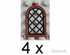 LEGO - 4 Burgfenster 1x2x2 2/3 braun mit Gitter schwarz / 30044 30046 NEUWARE