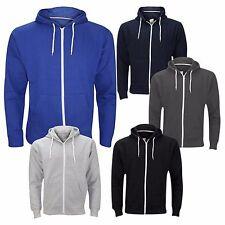 Mens Plain Zip Up American Fleece Hoody Jacket Sweatshirt Hooded Zipper Top S-XL