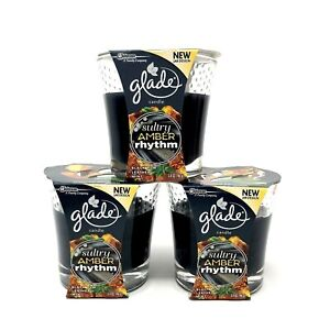 3 Glade Sultry Amber Rhythm Scented Jar Candles 3.4 oz Each Limited Edition