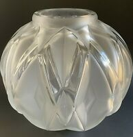 ART DECO FROSTED/CLEAR CUBIST GLASS VASE, SIGNED ANDRE HUNEBELLE, FRANCE
