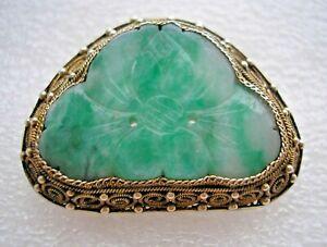 Stunning vintage Chinese Sterling Silver gilt & Jade brooch