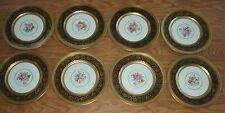 (8) Edgerton Black & Gold Dinner Plates w/Floral Centers - Heinrich & Co.