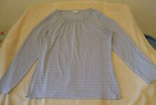 Christopher & Banks Size L Light Gray & Silver Striped Knit Top, long sleeves
