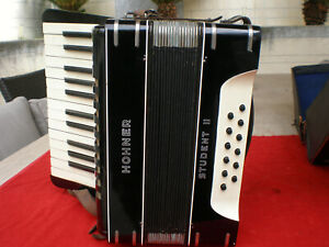 Original Black Hohner Student-II Piano Accordion made in Germany 1950s,Case.