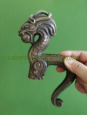 Old Bronze Carving Dragon Cane Walking Stick Head antique Statue Vintage wand