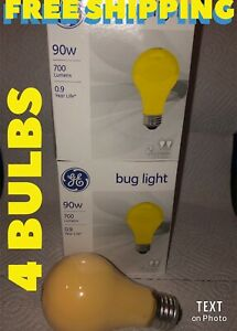 4 Pack 90-Watt A-Line Bug Light Bulbs New