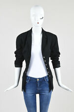 VINTAGE Mugler Black Wool Button Up Structured Long Sleeve Blazer Jacket