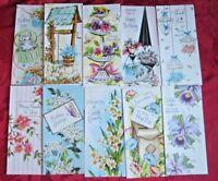 Lot of 10 VTG Greeting Cards Alpine Mid Century Birthday Thanks Hello Envelopes