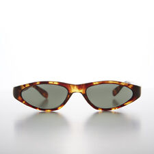 Edgy Small Cat Eye 90s Vintage Sunglass Golden Tortoise/Green Lens - Vicky