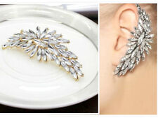 BIG LARGE Diamante Rhinestone Crystal Ear Cuff Stud Earring Statement Gold Clip
