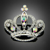 Fashion Christmas gift Princess crown Crystal rhinestone women lady brooch pin