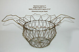 Antique Wire Egg or Fruit Basket - Collapsible - Great Patina! Modern Farmhouse