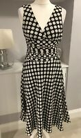 Zara Black Beige Polka Dot Spot Fit & Flare Tea Dress Midi Silk Blend Sz S 8-10