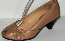 Softspots  Tan Leather Flower Open Toe High Heel Pump Women's Size 6.5 WW