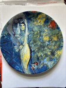 """Marc Chagall The Lovers 8.25"""" Collector Plate Georg Jensen 1972 Limited Edition"""