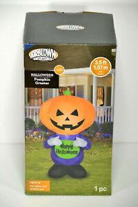 Airblown Inflatable Happy Halloween Big Pumpkin Head Greeter by Gemmy 3.5ft Tall