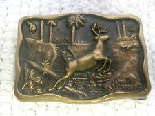"1980 BTS Whitetail Buck Deer Solid Brass Belt Buckle 2"" x 1 3/8"""