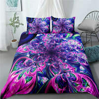 Purple Flower Ball 3D Quilt Duvet Doona Cover Set Single Double Queen King Print
