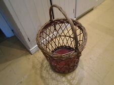 VINTAGE 1970'S WICKER LAUNDRY BASKET WITH COTTON LINER