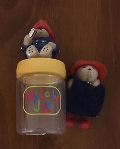 90's Paddington Bear Lolly Jar And Figurine