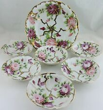 Antique Berry/Dessert/Ice Cream Bowl Set 7,Hand Painted Rose Flower,Gold,Pink