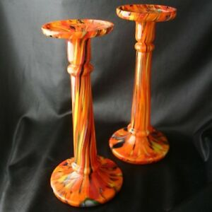 Vintage CZECH Mottled Cased Glass Candlesticks pr