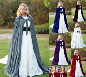 Stock Wedding Velvet Cape in Silver Halloween Medieval Hood Cloak Vampire Gothic