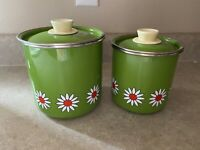 Vintage Green Metal  Daisy Canister Set