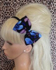 """BLUE PURPLE FLOWER FLORAL VINTAGE PRINT FABRIC 5"""" SIDE BOW ALICE HAIR HEAD BAND"""