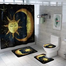 4Pcs Bathroom Rug Set, Bath Mat Non Slip Rug Toilet Lid Cover Shower Curtain
