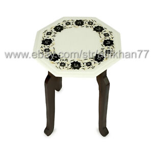 Marble Inlay Side Table White End Table for Living Room Furniture New Home Gift