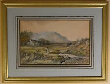 "Original Walter Sydney Scott Watercolor ""Mountain Cottage"" Signed and Dated 1886"