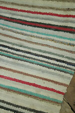 RAG RUG vintage European runner colorful striped carpet 1930's 110 x 30 inches