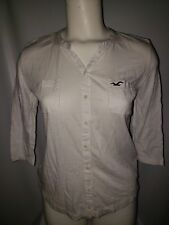 Hollister Women's 3/4 Sleeve Scoop White 2 Front Pocket Shirt Size Small