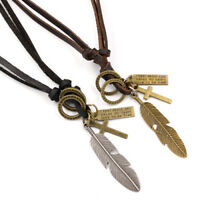 Necklace for Man Vintage Fashion Cross Silver Feather Pendant Black Leather Rope
