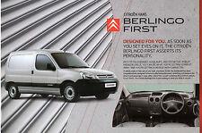Citroen Berlingo First Van 2008-09 UK Market Leaflet Sales Brochure 1.4i 1.6 HDi