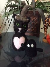 ooak needle felted black cat halloween witch heart ghost pumpkin