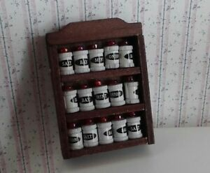 Dollhouse Miniatures Wood Spice Rack with 15 Tiny Labeled Spice Jars 1:12 scale